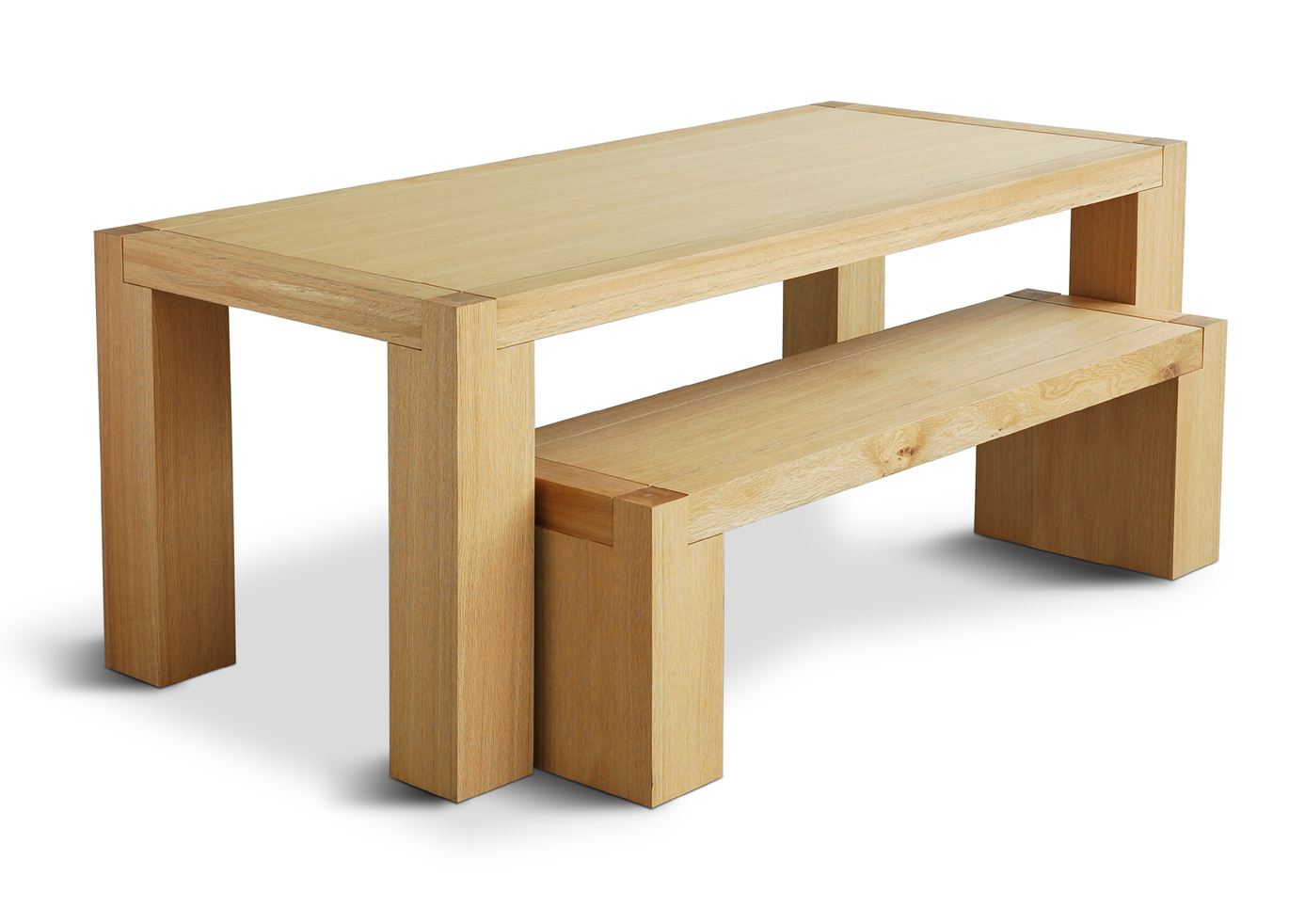 Gus modern chunk dining table bench for Dining table with bench